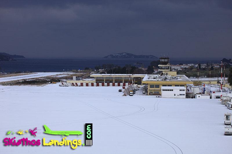 Skiathos airport in snow