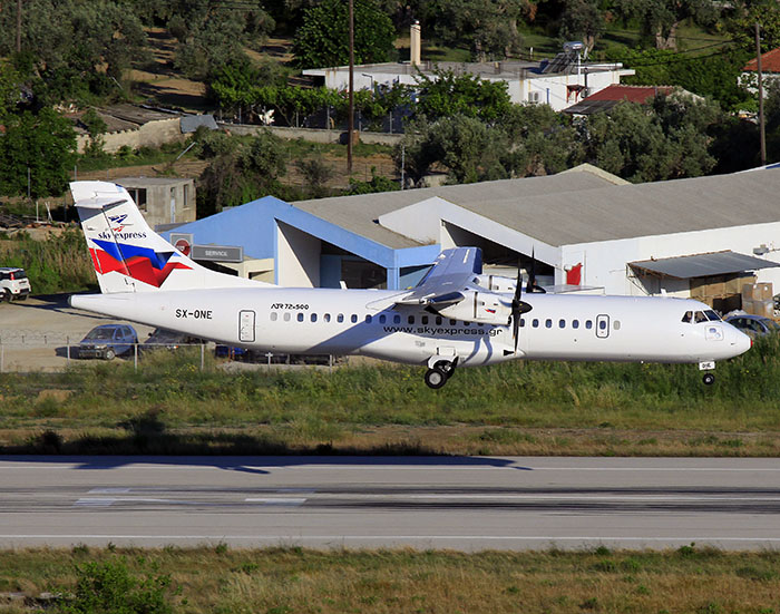 Code-share flights between Germania and Sky Express offering also transfer flights to Skiathos
