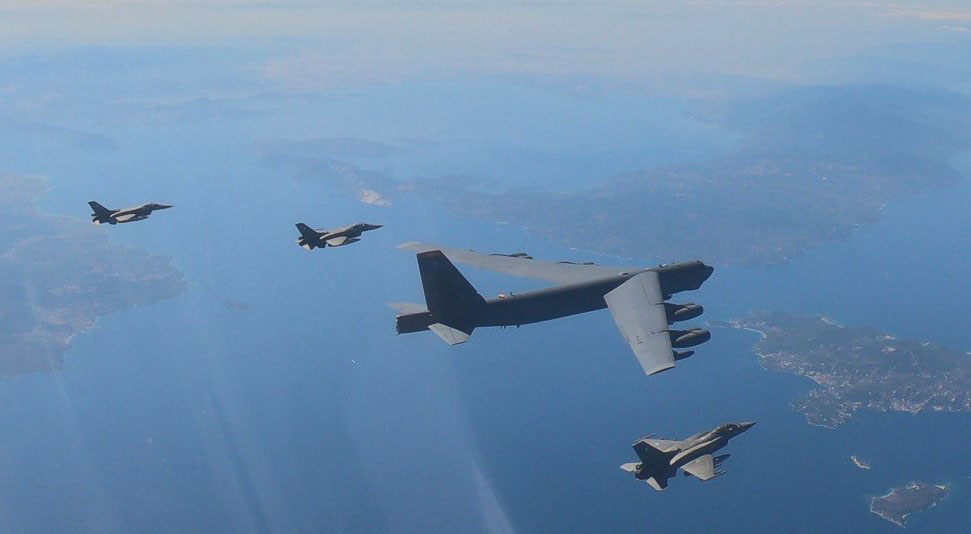 US bomber B-52 Stratofortress over Skiathos escorted by 4x HAF F-16s